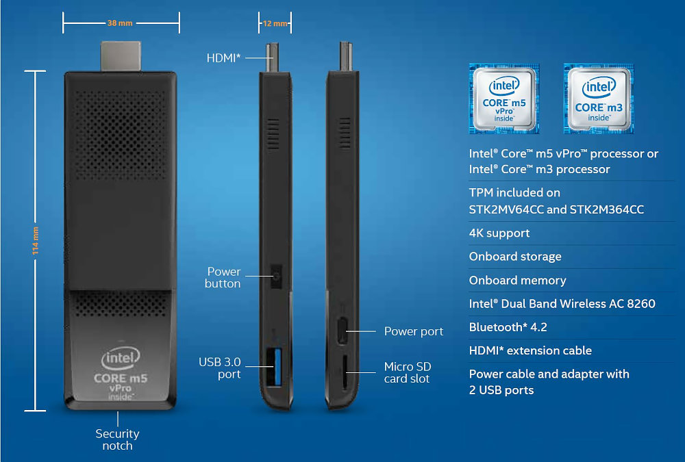 インテル、Core m3搭載の高性能スティックPC発売 価格は4万円台