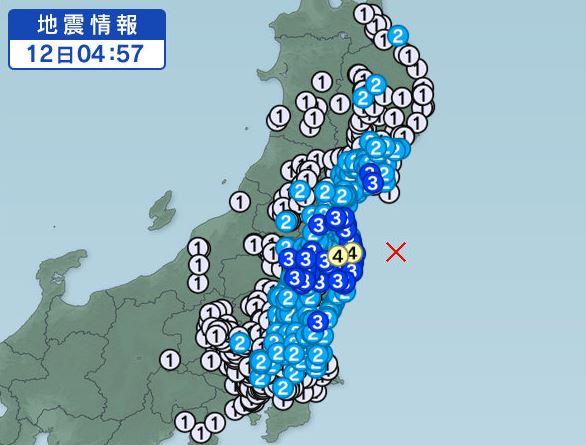 福島県で震度4。2017年3月12日 4時57分ごろ
